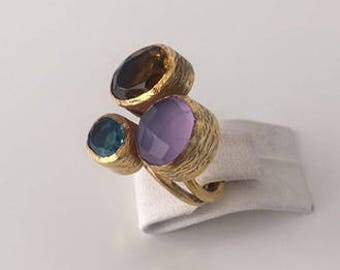 Triple Gold plated  Blu topaz and  Yellew topaz  ring