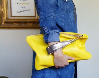 New///Oxford in Canary Yellow Leather with Glittery Lambskin Wrist Strap//Clutch// Pouch
