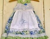 Toddler Girl Easter Dress Bunny Applique Baby Girl 3T READY to SHIP