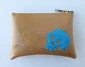 Coin purse gold metalflake vinyl with light blue skull