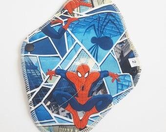 Cloth Mama Pad / Reusable Cloth Pad - Regular Flow  - Spider-Man Printed Cotton 8 Inch FREE Shipping