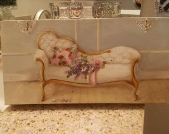 Victorian Fainting Couch Painting Hand Painted flower bouquet crystal wall sconces