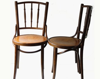 2 Traditional Thonet bentwood spindle back chairs - classic ice cream parlor dining chairs - modern bohemian dining chairs