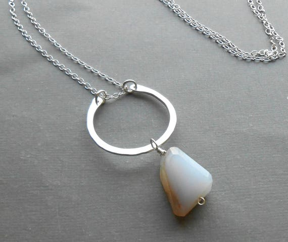 Long Sterling Silver Necklace, Stone Pendant, Blue Chalcedony on Hammered Circle Pendant, Artisan Necklace