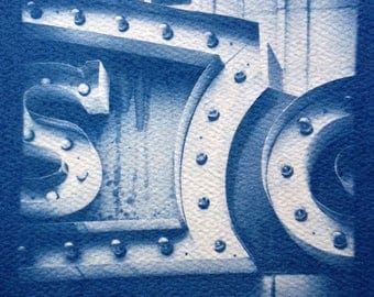 Theater Marquee - Savannah Georgia, Real Cyanotype Print, OOAK Ready to Frame, one of a kind handmade cyanotype print