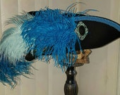 Reserved for Erin ~ Black and turquoise pirate, Steampunk, Marie Antoinette, Baroque, 18th century tricon