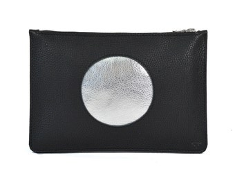 Coralie - Handmade Black Silver Cut Out Leather Clutch Bag Zip Pouch Purse SS17