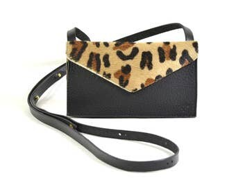 Eve - Handmade Leopard Print Leather Cross Body Shoulder Purse Zip Pouch. SS17