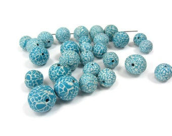 Turquoise White Beads, Polymer Clay Beads, Millefiori Beads, Polymer Mosaic Beads, Polymer Turquoise Beads, Lace Pattern Beads, Round Beads