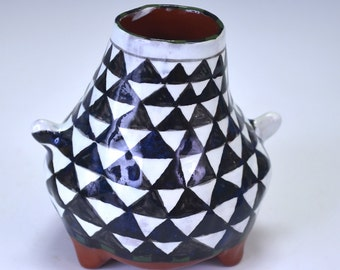 Bottle with black and white triangles, small bottle, bud vase.