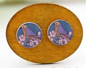 Buy 1 Get 1 Free - Vintage Bird Cabochon, Koala Wooden Button, 12mm 15mm 20mm  Round Handmade Photo Wood Cut Cabochon -- HWC045G