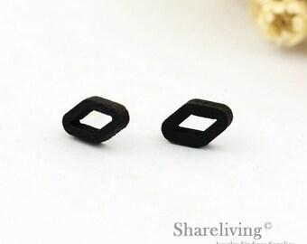 4pcs (2 pairs) Mini Black Rhombus Charm / Pendant,  Tiny Black Diamond, Perfect for Stud Earring, Post Earring - WED154