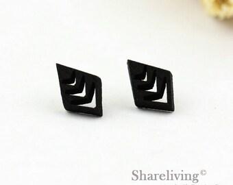 4pcs (2 pairs) Mini Black Rhombus Charm / Pendant,  Tiny Black Diamond, Perfect for Stud Earring, Post Earring - WED158