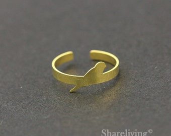 2pcs Raw Brass Bird  Ring, Adjustable Swallow Brass Rings - TR014
