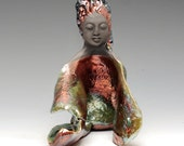 Kwan Yin Kannon Angel with Copper Red Green Open Arms in Raku Ceramics