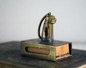 Brass Match Holder, Chinese Matchbox Cover, Brass Chinoiserie, Brass Foo Dog Cat, Engraved Brass Tobacciana, Metal Match Safe, Asian Decor