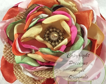 Custom Made Satin Flower with singed petals