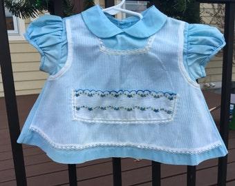 50s Blue Rose Dress 9/12 Months