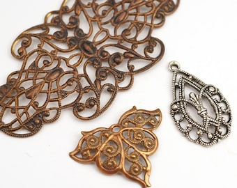 3 pcs antiqued brass and silver color filigree components, assorted multihole links components charm