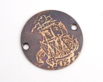 2 hole copper pirate ship component, ocean vessel bracelet link, 25mm