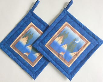 Tent Camping Blue Potholders, Camping Holders, Camping Potholders, Blue Potholders, Outdoor Theme Kitchen