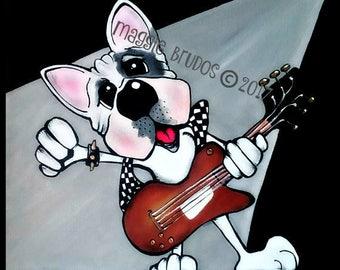 bulldog guitar rock n roll music rock star metal boston terrier frenchie pet lover 10x10 maggie brudos painting Original whimsical DOG art