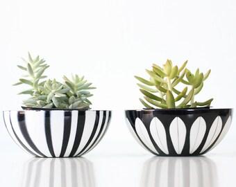 "Vintage Cathrineholm Bowls- Lotus and Stripes, Set of 2, 5 1/2"" diameter bowls"