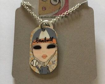 Necklace - Dog tag necklace - baseball necklace