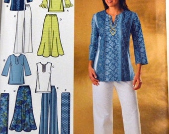 Uncut Simplicity Wardrobe 4149 Sewing Pattern  Misses' Tops, Scarf, Skirt, and Pants Uncut Complete Bust 32-40 inches
