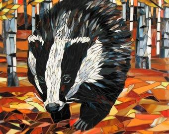 Badger Card - Greetings Card - Badger Mosaic Art - Birthday Card - Badger Art - 'Rustling Leaves' - Original Mosaic Badger Painting Autumn