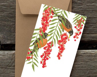 Robins in Pepper Tree: Pack of 8 eco-friendly flat cards
