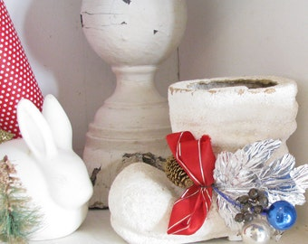 Cheery Vintage Christmas Decoration...Vintage Paper Mache Boot
