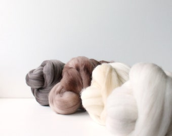 wool roving set, weaving creative yarn bundle, handspinner, hand dyed merino wool, hand spinning .. teddy bear