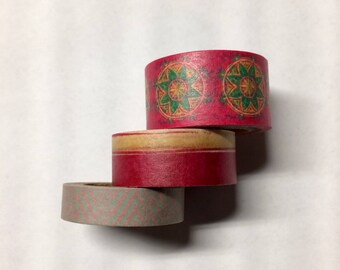 Washi tape 3 pack 5 yards each Red Pink Green Mix