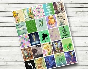 Tinkerbell Planner Sticker Sheet - Digital Planner Stickers - Print at Home - Disney Planner Stickers - fits Erin Condren Life Planner - DIY