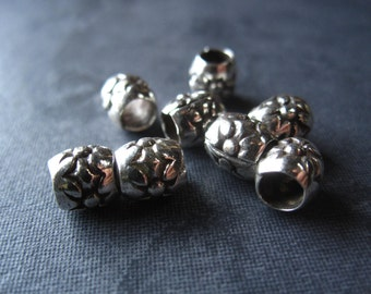 4 Large Holed Round Sterling Silver Slider Bead - 6mm X 6mm with large hole of 3mm - Will fit 2.5mm leather or smaller