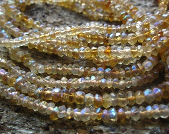 Large Mystic AB Citrine faceted rondelles - 6 inch strand - 3mm X 2mm