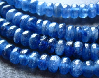 Kyanite Beads genuine blue smooth polished stone rondelles 12 - semiprecious gemstones - 6mm X 3mm