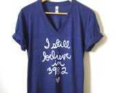 I still believe in 398.2 - Dewey Decimal - Librarian Shirt- Fairy Tale. Unisex V-neck Tee. MADE TO ORDER