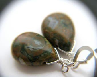 Dark Green Earrings . Green Stone Earrings . Green Teardrop Earrings . Rhyolite Earrings . Natural Stone Earring - Boa Collection