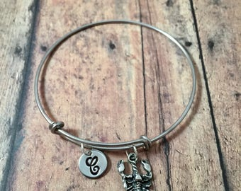 Scorpion initial bangle - scorpion jewelry, silver scorpio bracelet, arachnid jewelry, desert jewelry, scorpion bangle, Halloween jewelry