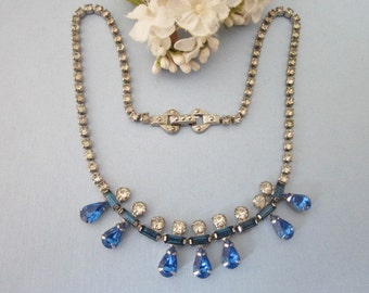 Vintage Rhinestone Necklace something blue