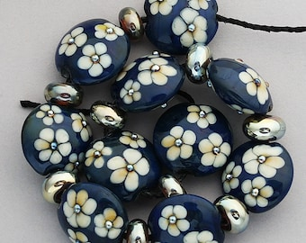 DSG Beads - Artisan Debbie Sanders Glass Beads Handmade Lampwork Glass Organic - Made To Order ~Royal Flowers~ Lentil Set