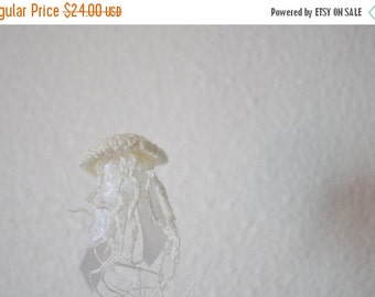 January Sale Linen Jellyfish With Lace and Silk Ribbon Trim - Ready to Ship, Size Small, Natural Off White