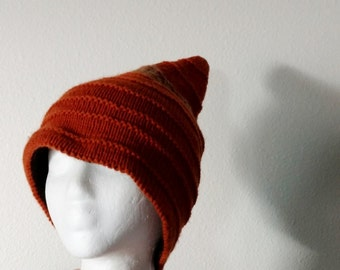 January Sale INDETERMINATE Gnome Hat - Reversible Handknit Pixie Hat in Rust Orange, Handspun, and Brown and Gold on the Reverse Side. Boho,