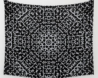 mandala wall tapestry- wall hanging- black and gray- modern mandala wall art- dorm decor- home decor- geometric fabric wall hanging