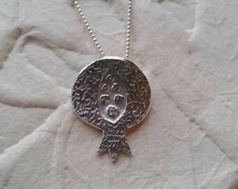 Unique Embossed Fine Silver Pomegranate Necklace