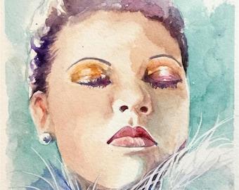 Billie Holiday portrait original watercolour painting