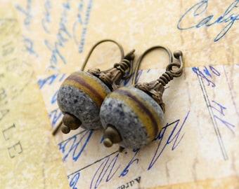 African Trade Bead Earrings, Ghana Krobo Ashanti Earrings, Striped Earrings, Petite Earrings, Sand Glass Powder Glass Jewelry, Rustic Earthy