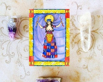 Ancient Pagan Art Goddess Crete Minoan Snake Priestess Prayer Card Fantasy Art Greek Mythology Mystical Sacred Divine Feminine Spiritual Art